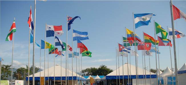 Flags 2007 Pan American Games athlete's village / Wilson Dias/ABr - Agência Brasil / CC BY 3.0 BR